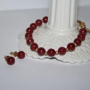 Vintage red and gold Monet bracelet earring set